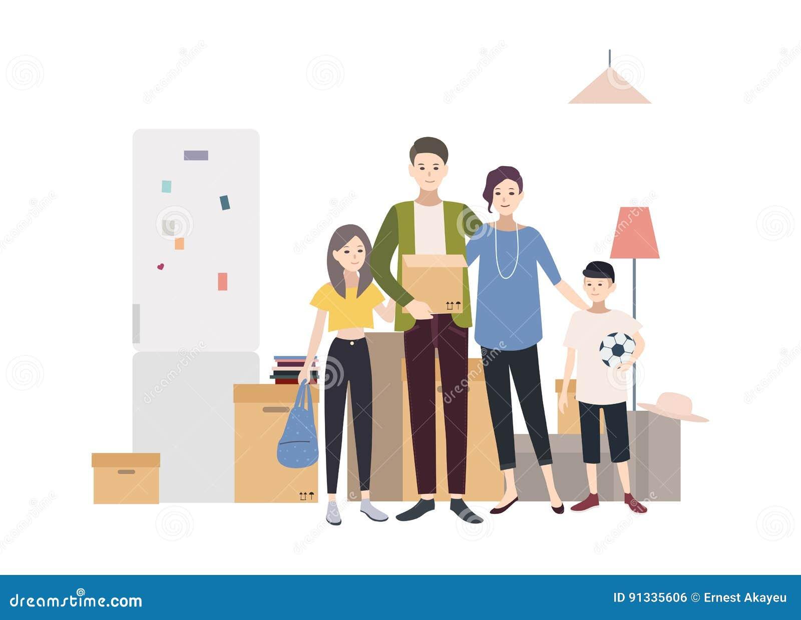 Familie, Die In Ein Neues Haus Mit Sachen Sich Bewegt Karikatur ...