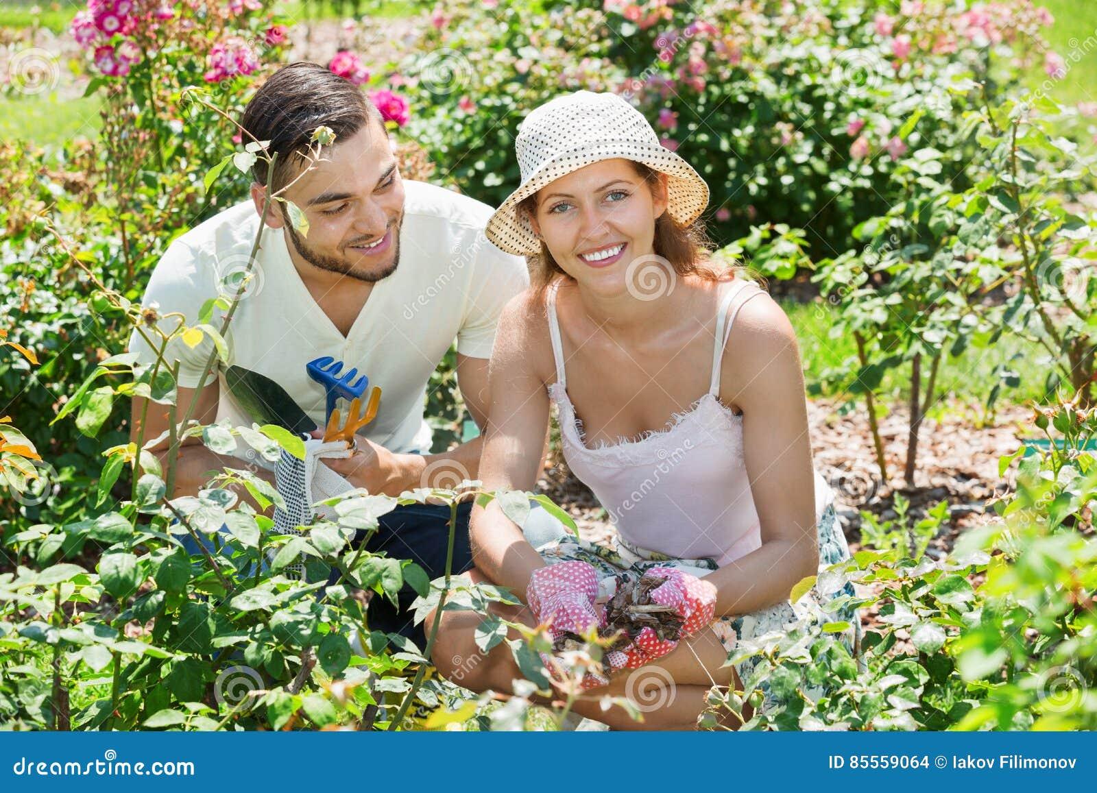 Familie, die im Garten arbeitet
