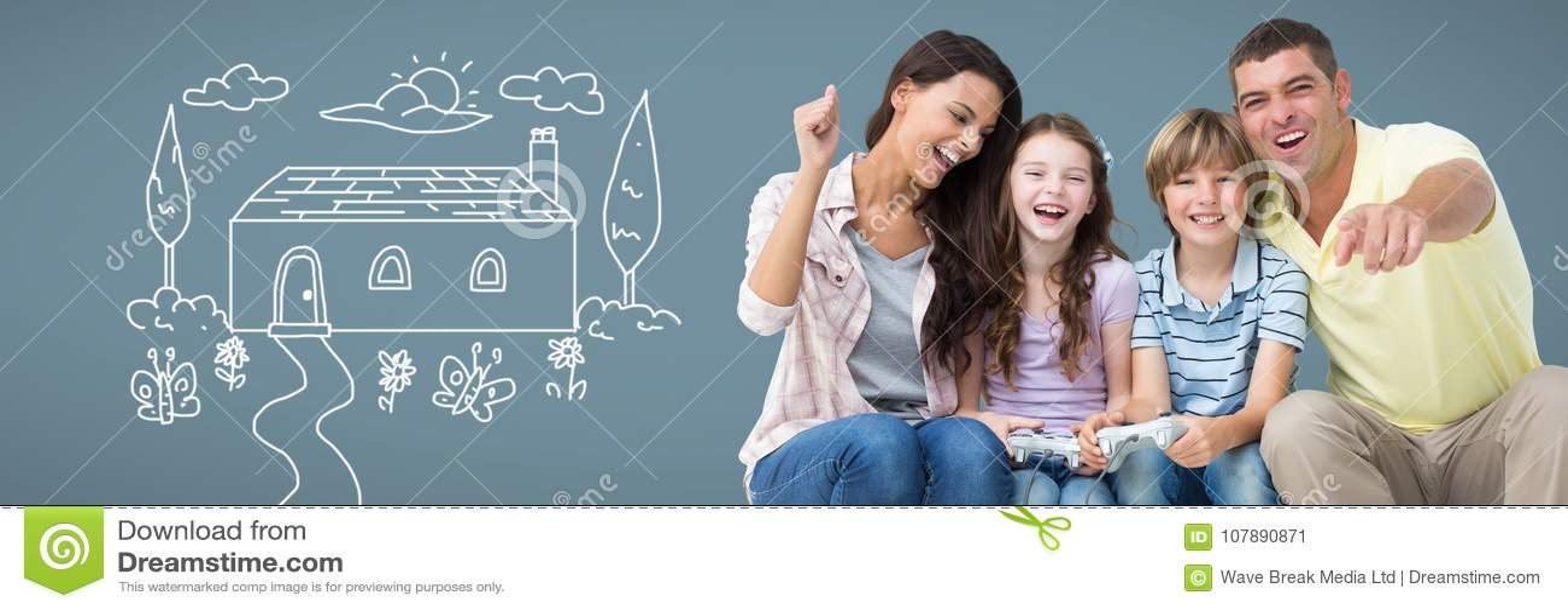 Familie die pret samen met huistekening hebben