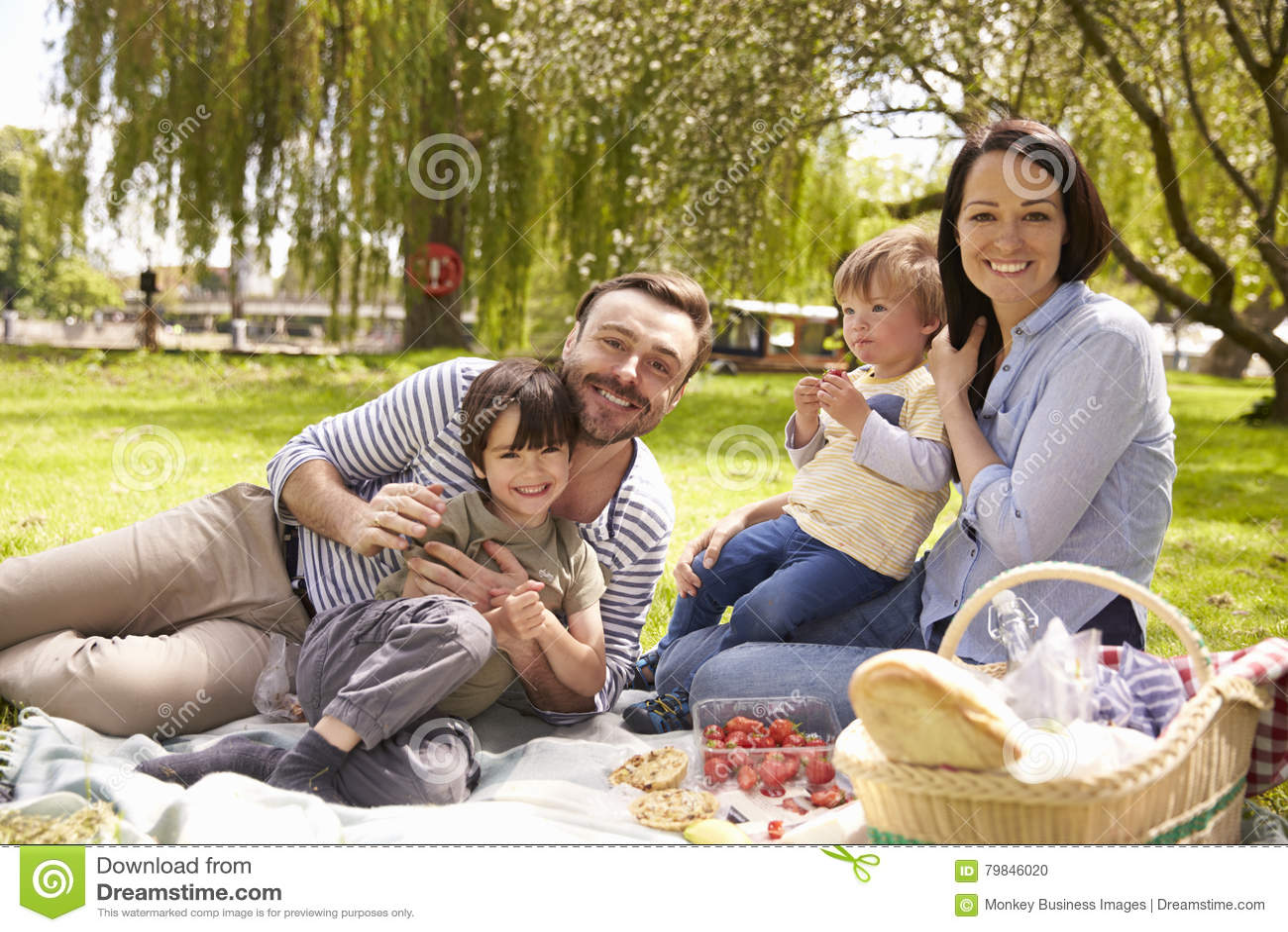Familie die Rivieroever van Picknick samen genieten