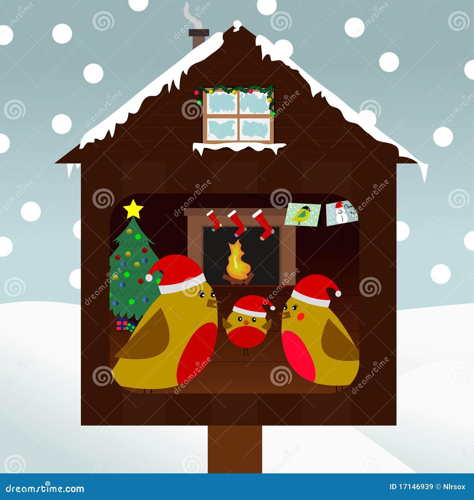 Familie die van vogels Kerstmis viert