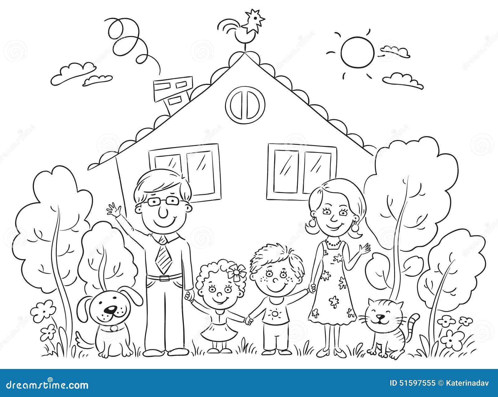 Familie am haus entwurf vektor abbildung illustration von leben 51597555 - Houses for families withchild ...