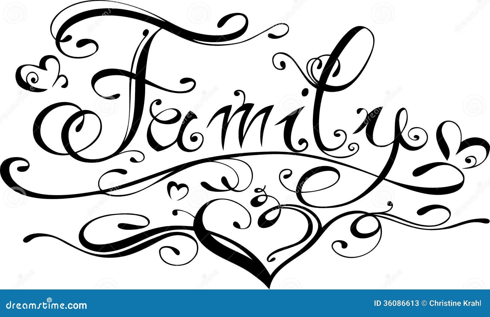 Familie Het Van Letters Voorzien Vector Illustratie Illustratie 36086613