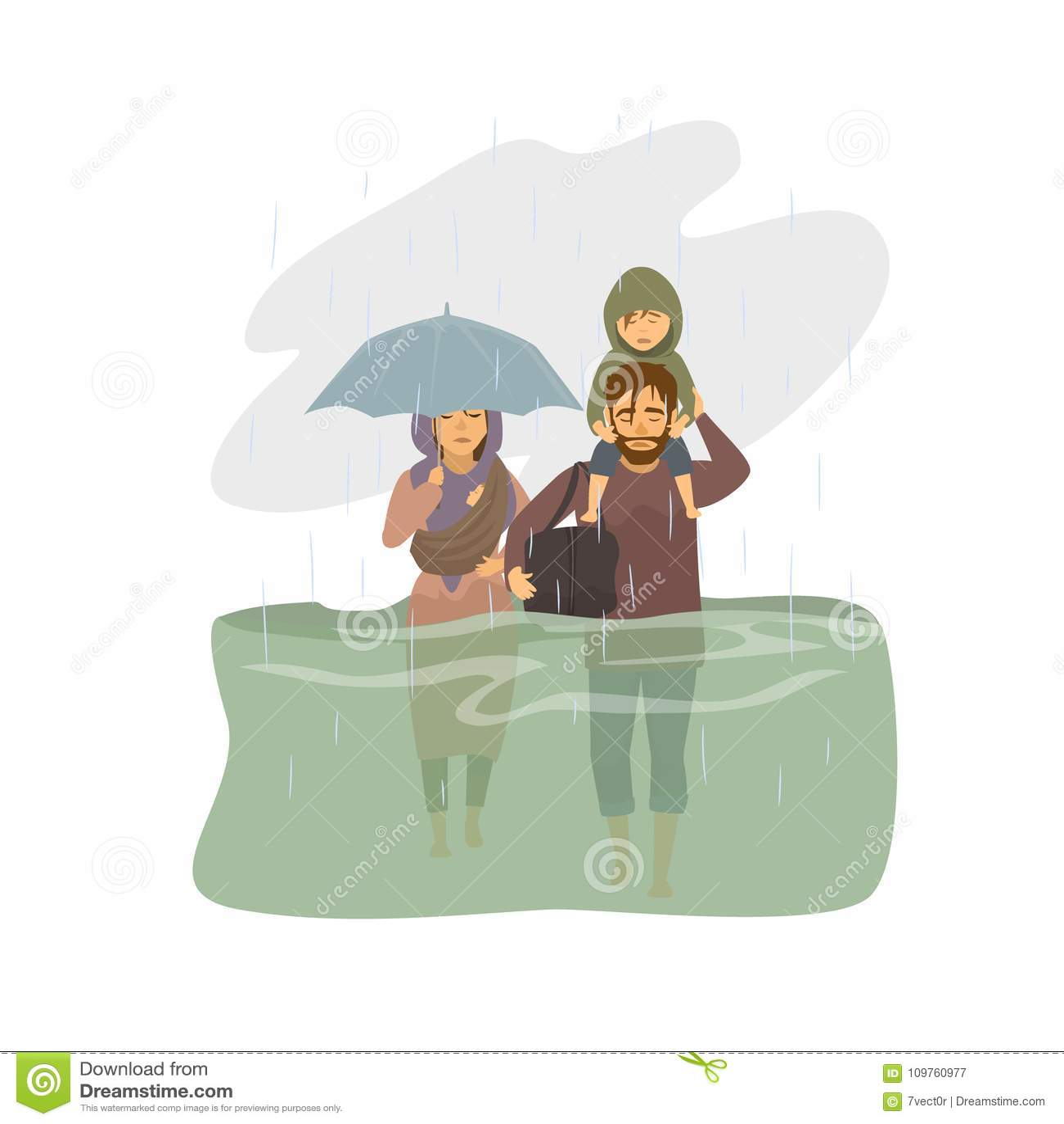 Familie, Leute entgehen von den Flutwassern, die grafischen Flutopfer