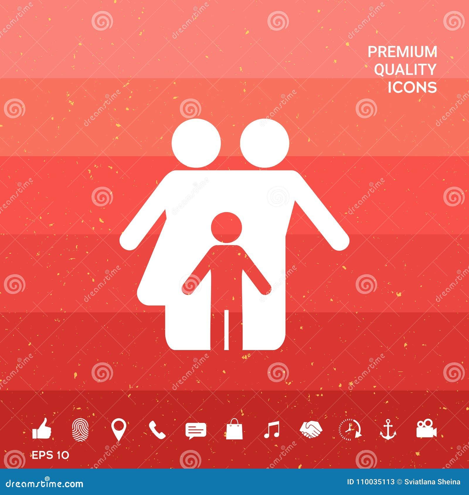 Familie met kind - pictogram