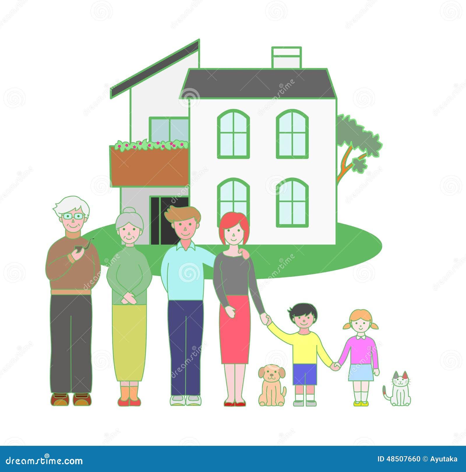 Familie Mit Drei Generationen Und Ein Haus Vektor