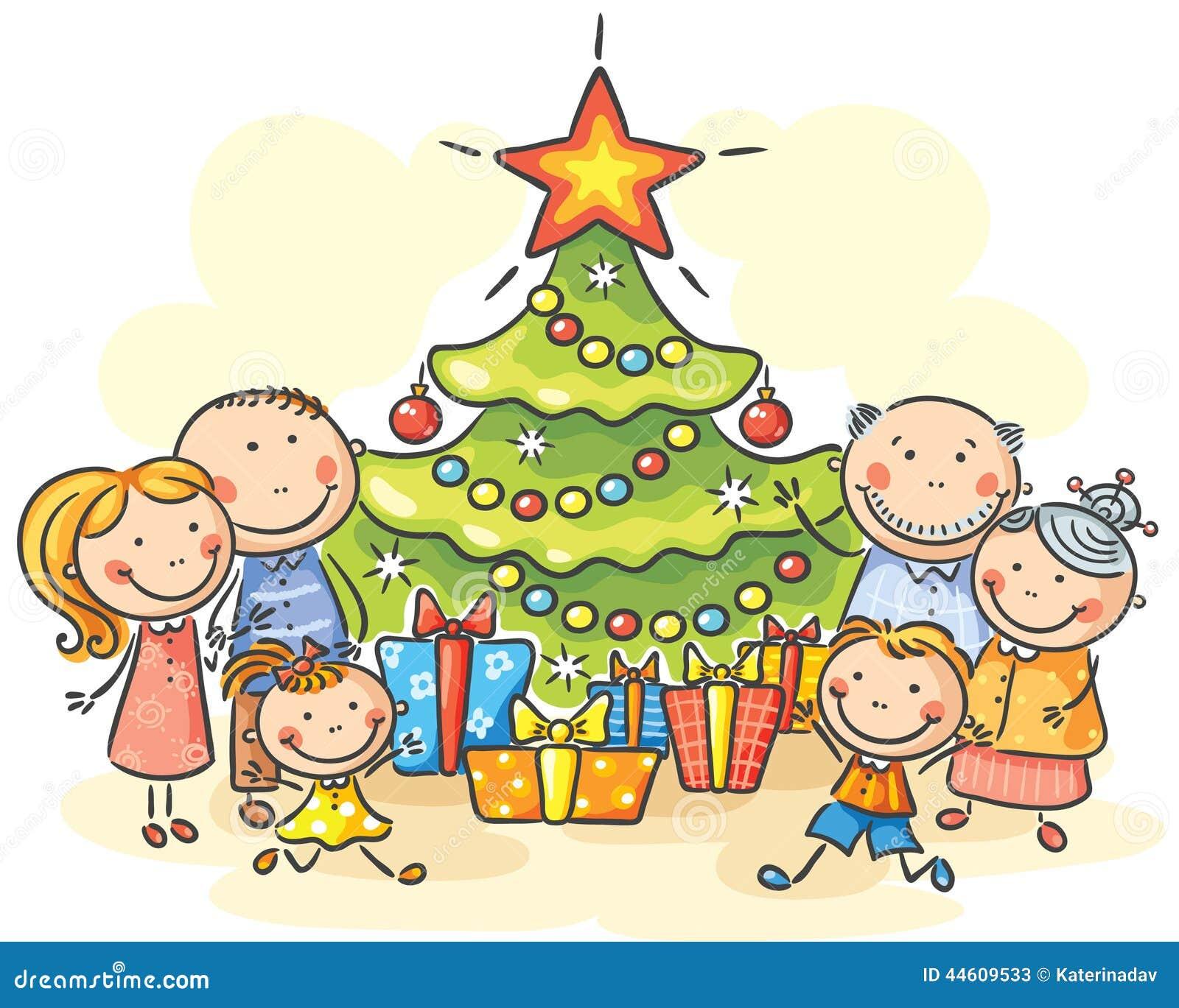 familie mit einem weihnachtsbaum und geschenken vektor. Black Bedroom Furniture Sets. Home Design Ideas