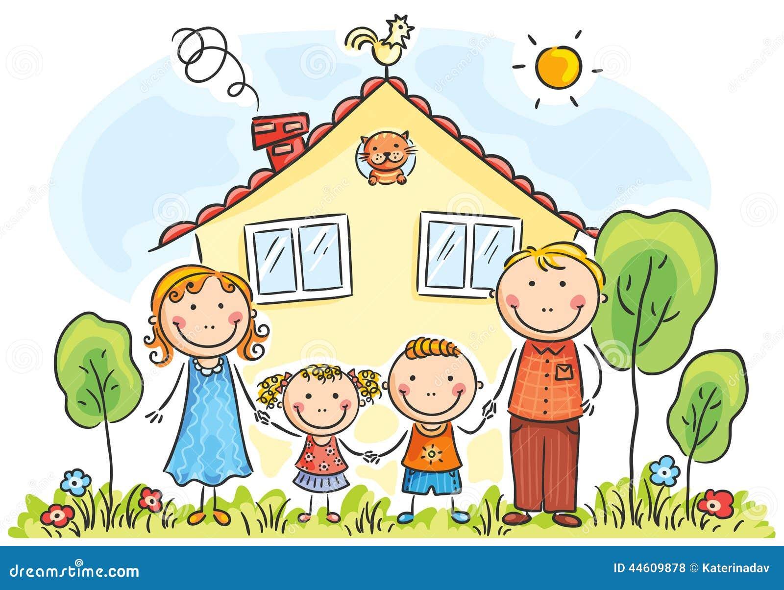 familie mit zwei kindern vektor abbildung illustration. Black Bedroom Furniture Sets. Home Design Ideas