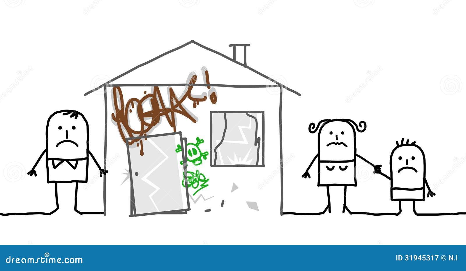 Familie u. unsicheres Haus