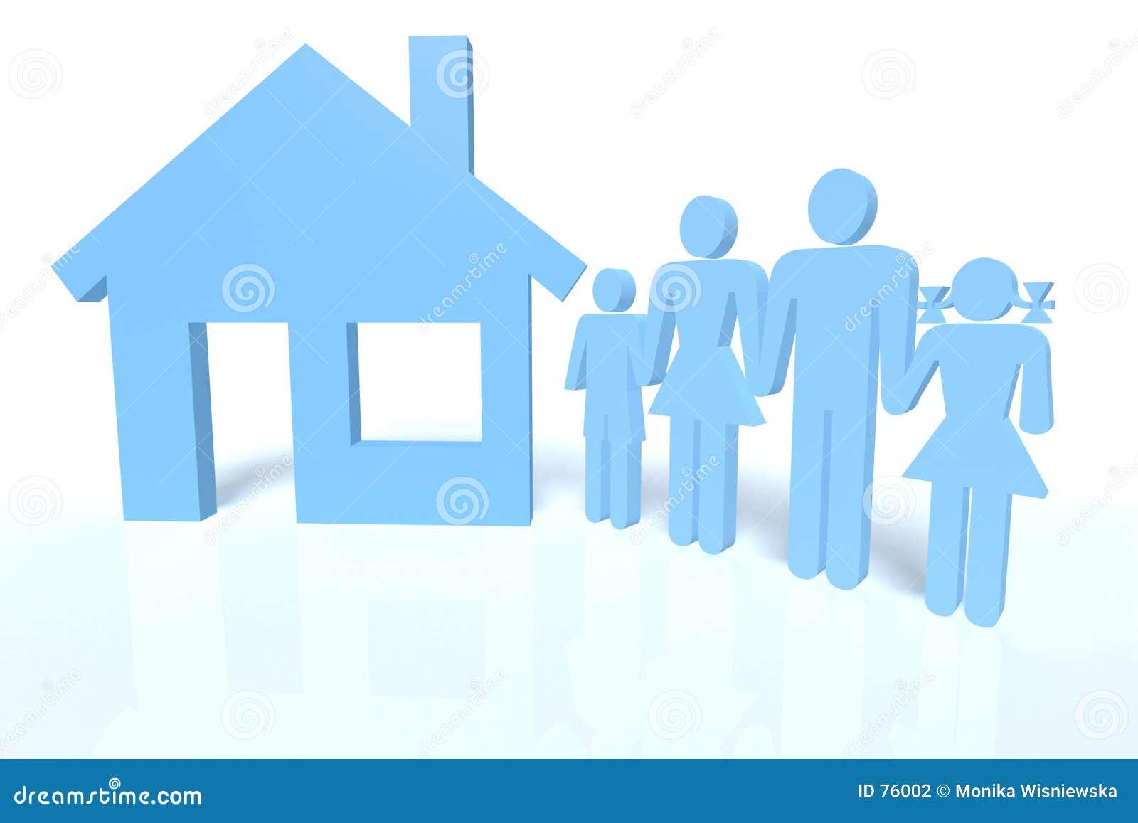 Familie und ein Haus