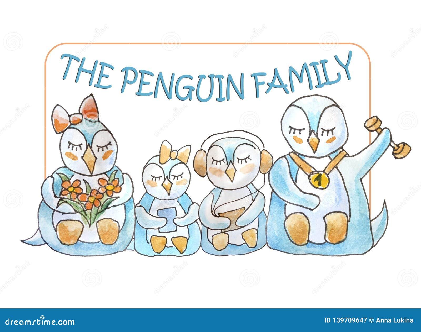 Familie van pinguïnen met kader en het van letters voorzien