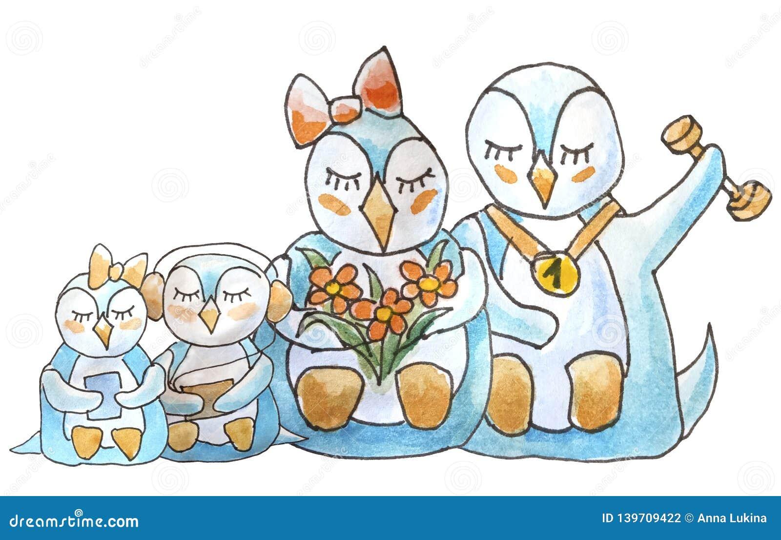 Familie van pinguïnen op witte achtergrond