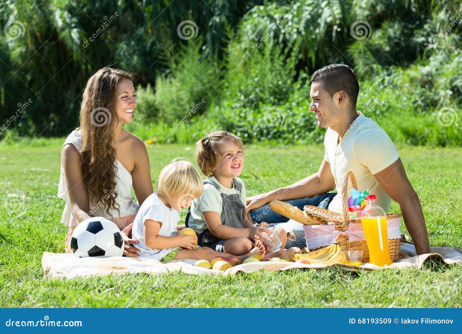 Familie van vier op picknick