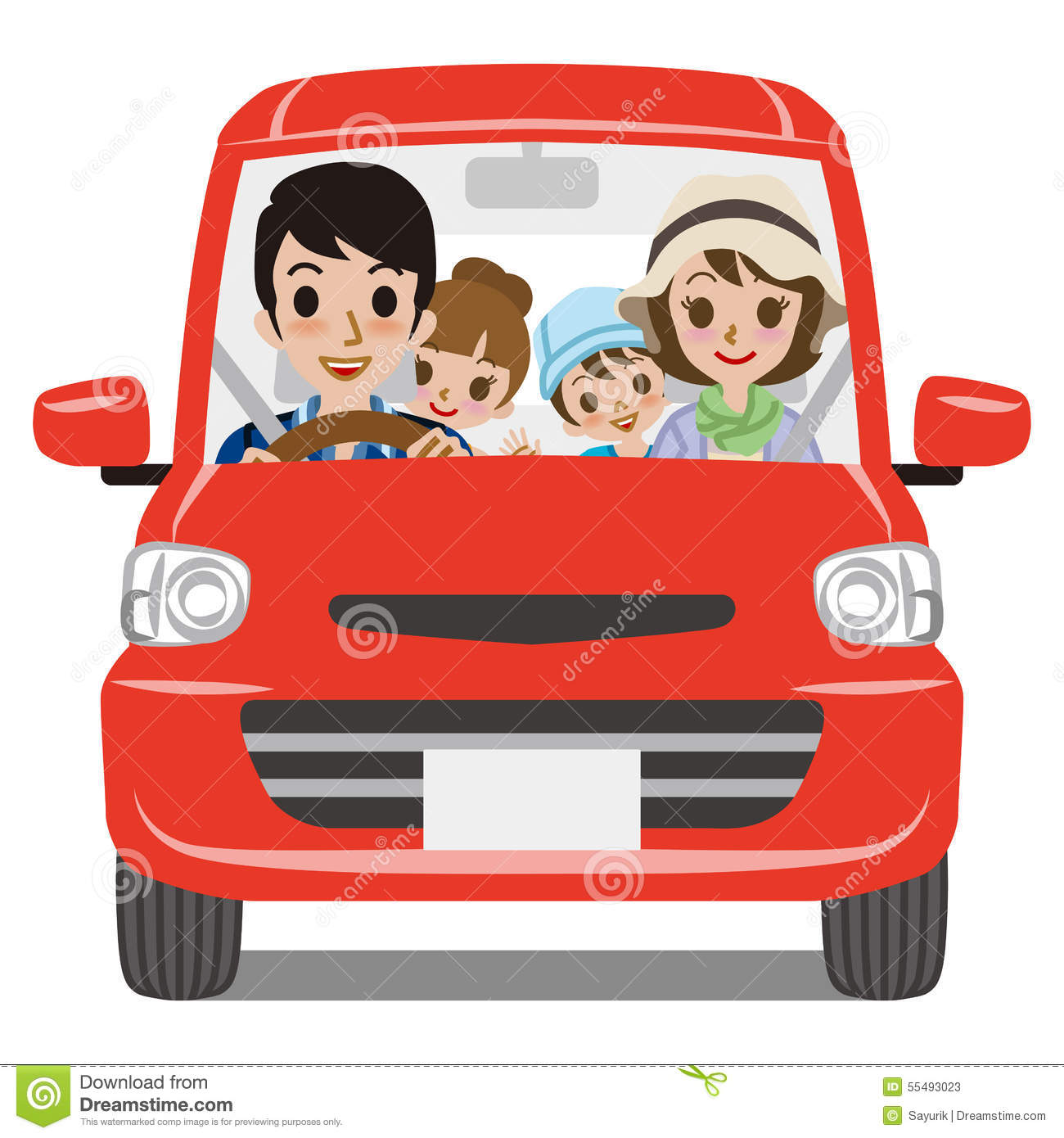 Clip Art Family In Car Driving