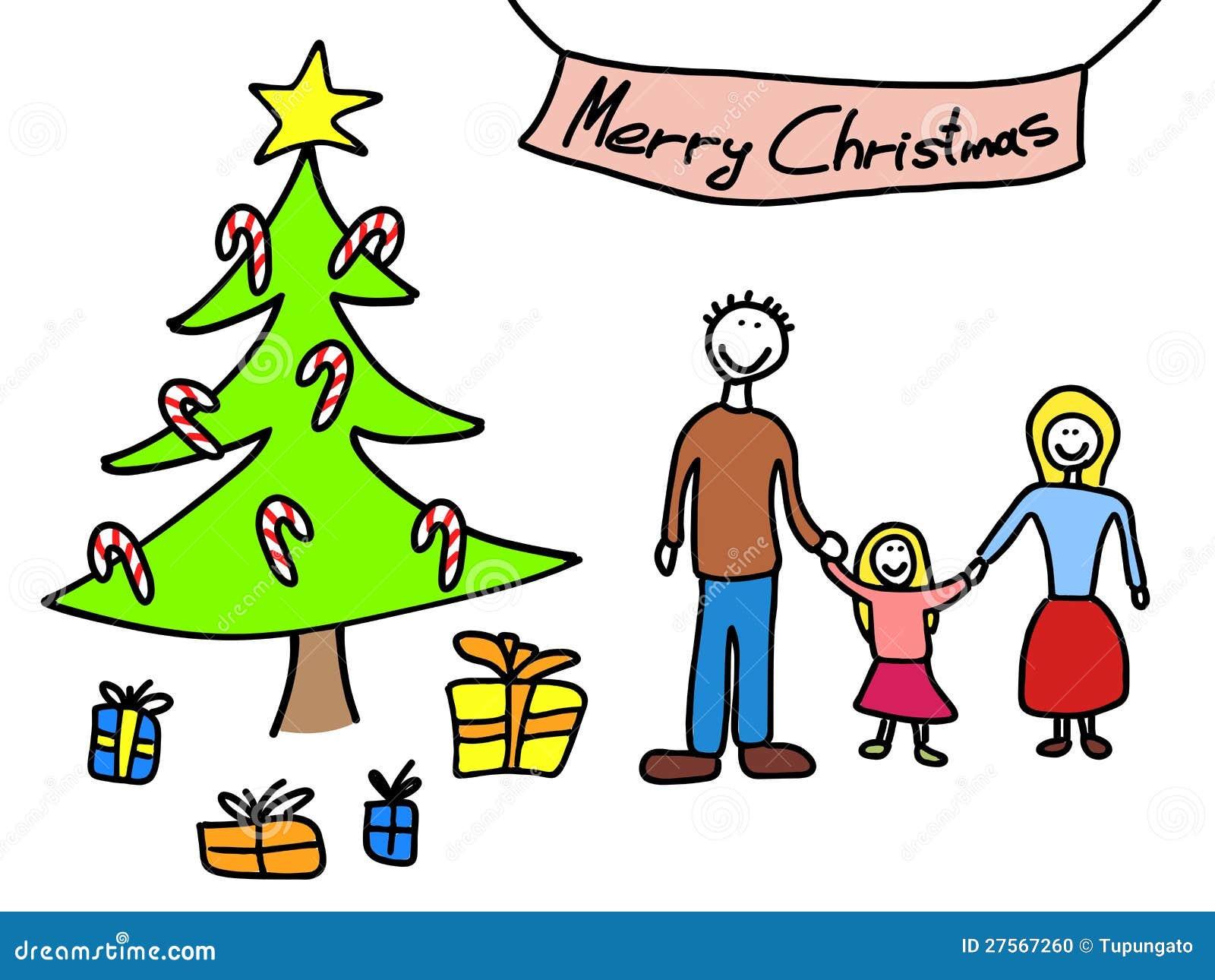 Familien-Weihnachten vektor abbildung. Illustration von lächeln ...
