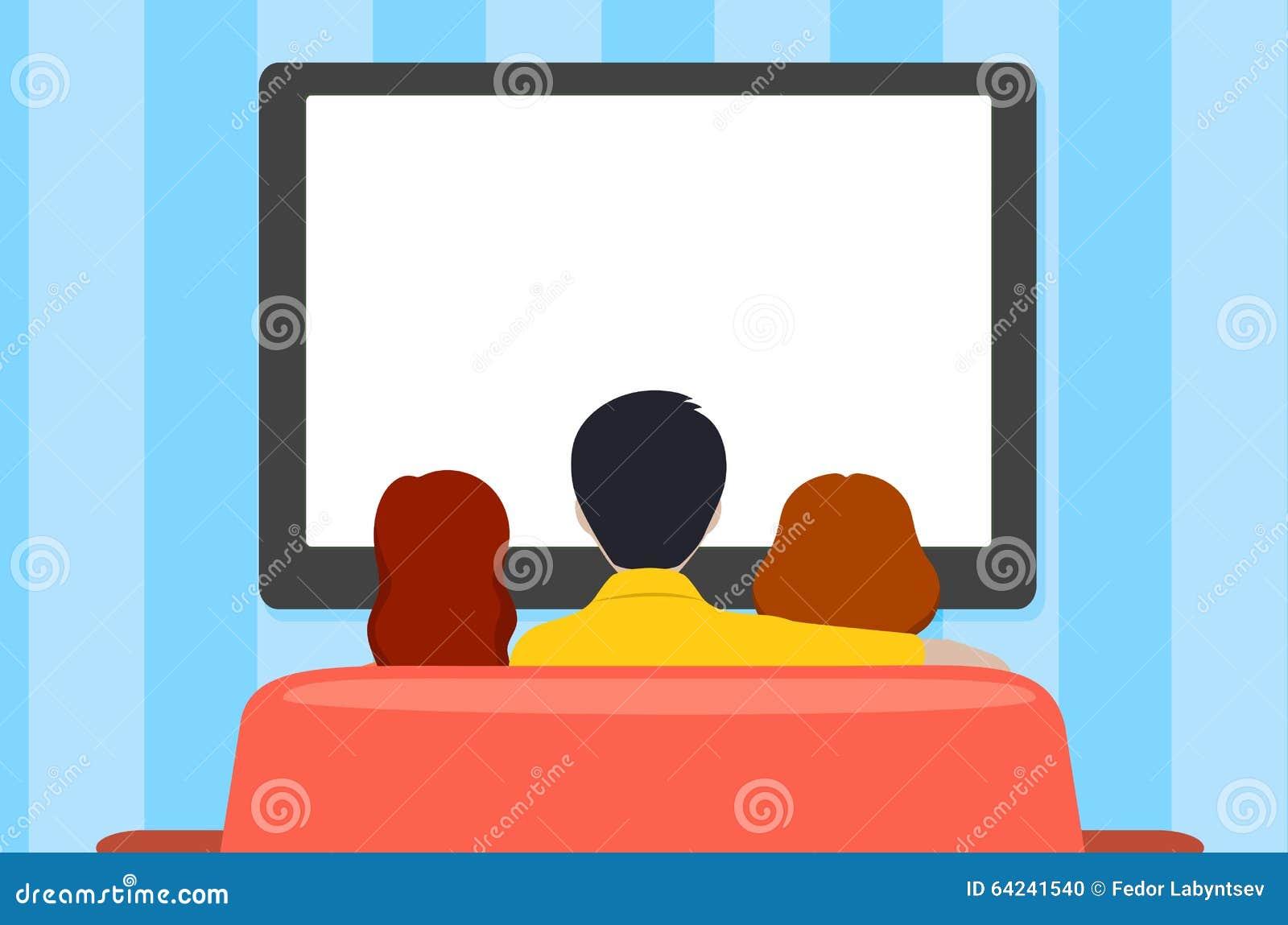 Familienfreizeit, Leute hinter Betrachtung des Fernsehens, flache Art