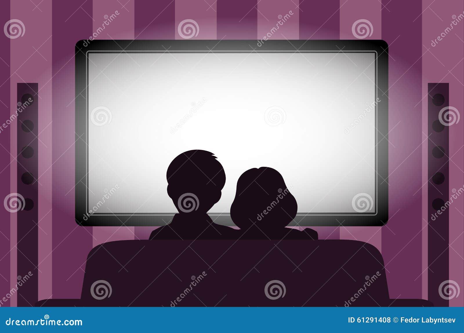 Familienfreizeit, Leute hinter Betrachtung des Fernsehens nachts