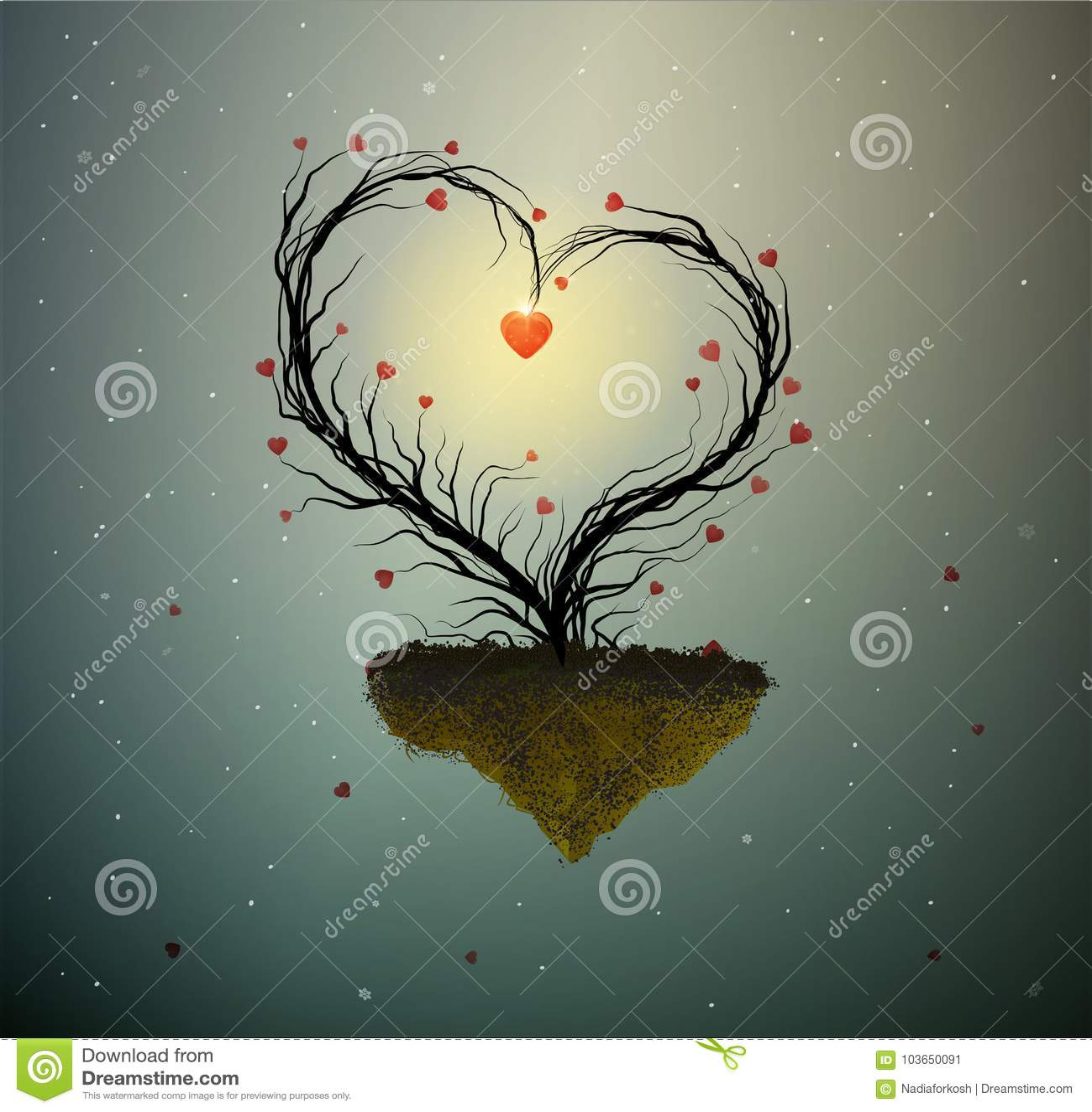 Familienhausidee, magischer Baum der Frühlingsliebe, Baum mit Herzen mit Nest und zwei weiße Vögel nach innen, süßes Haus, zusamm