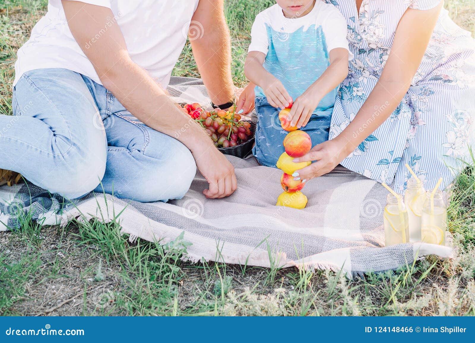 Familiepicknick bij het park, de toren van het de bouwfruit
