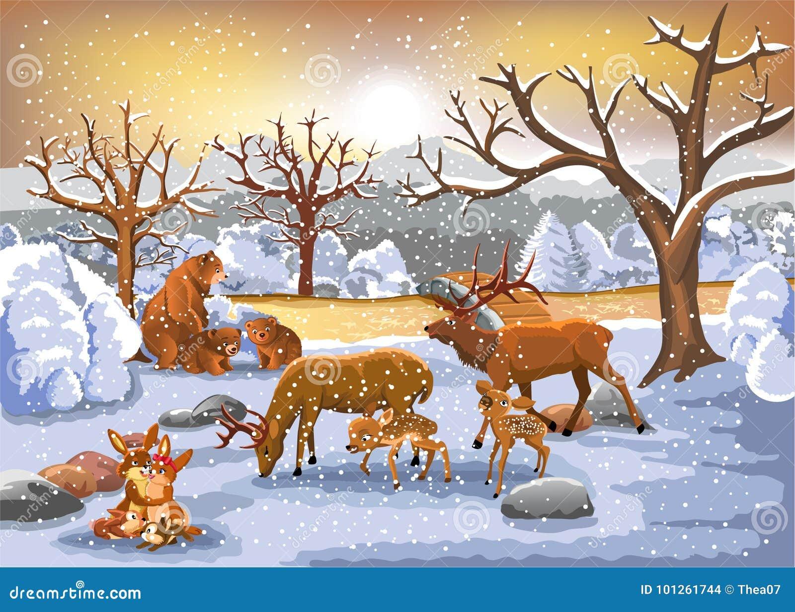 Families die van dieren de winter van tijd genieten