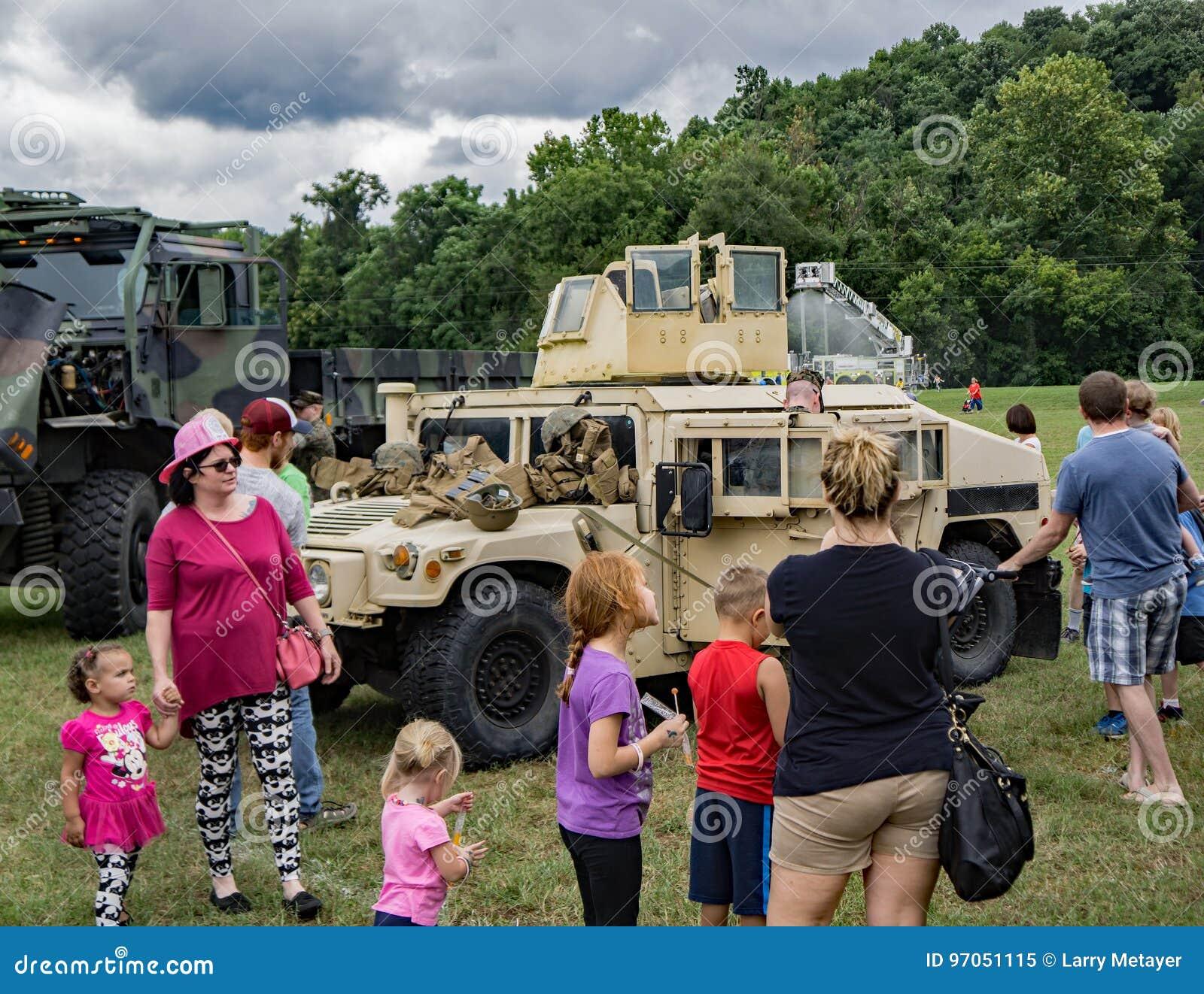 Families Enjoying the Military Hardware