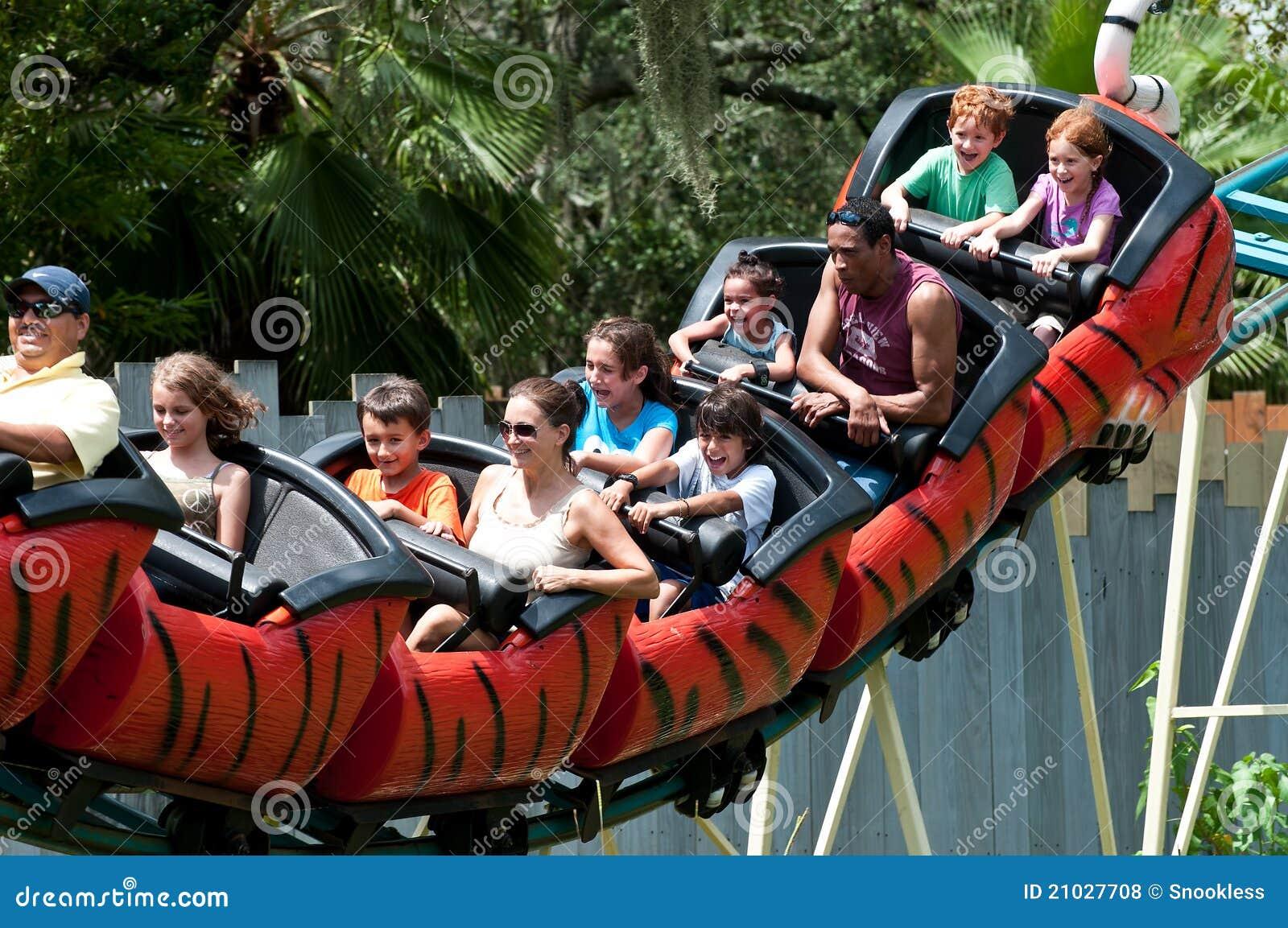 Families Enjoying Roller Coaster