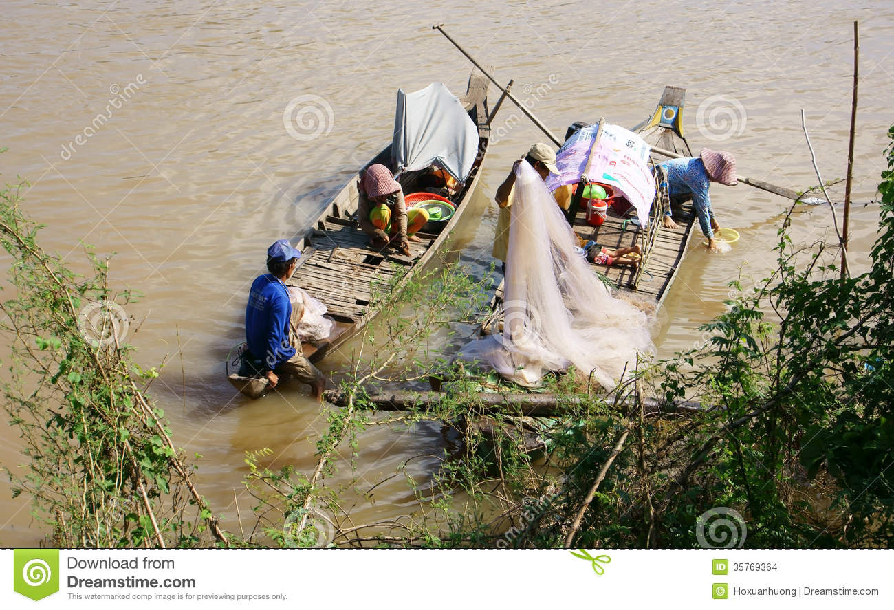 Families of fisherman do fishing on rive editorial stock for Best boat for fishing and family fun