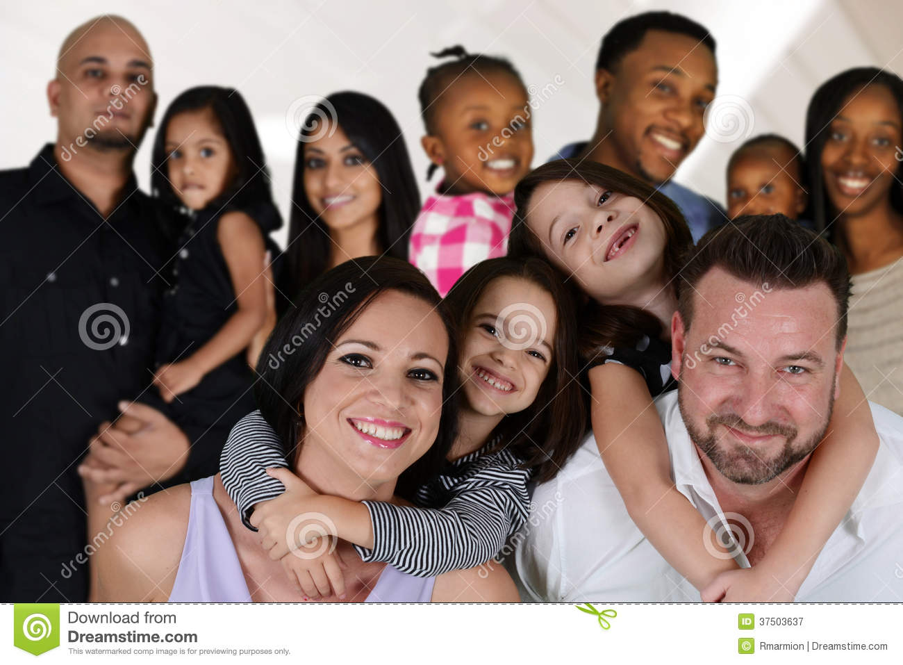 Group of different families together of all races.