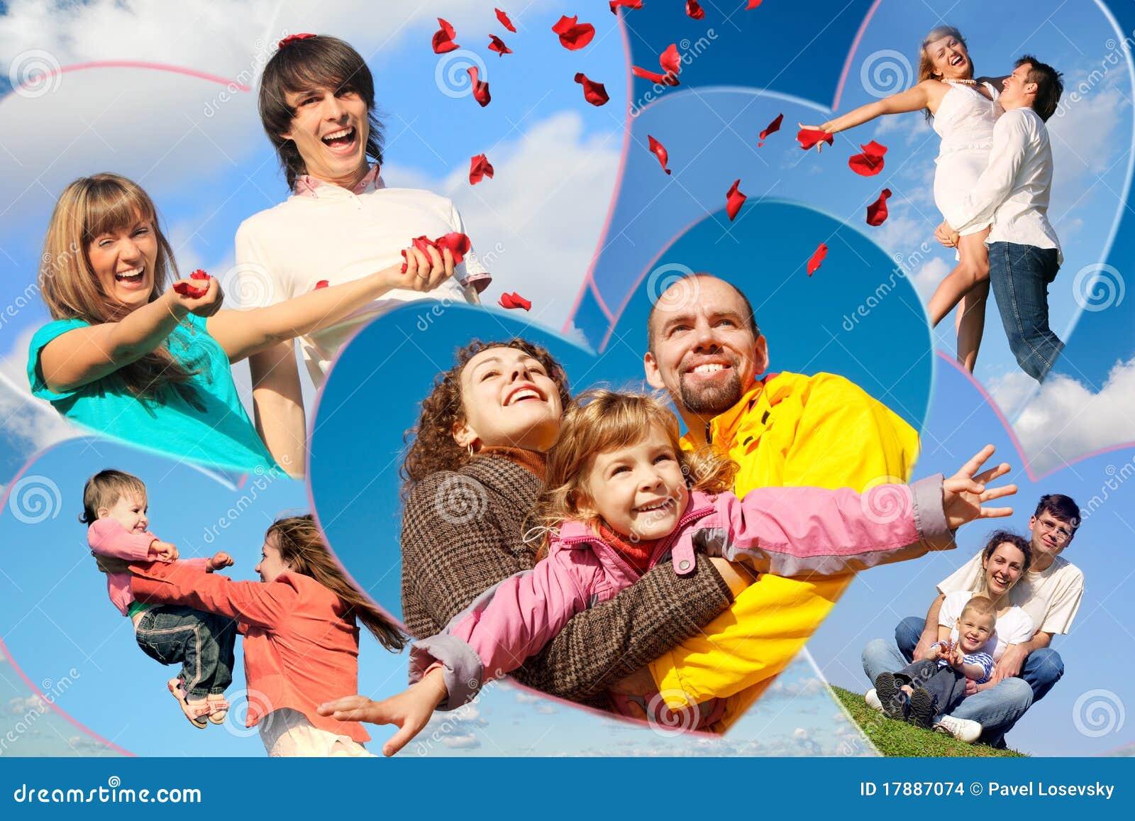 Families met kinderen en jong paar