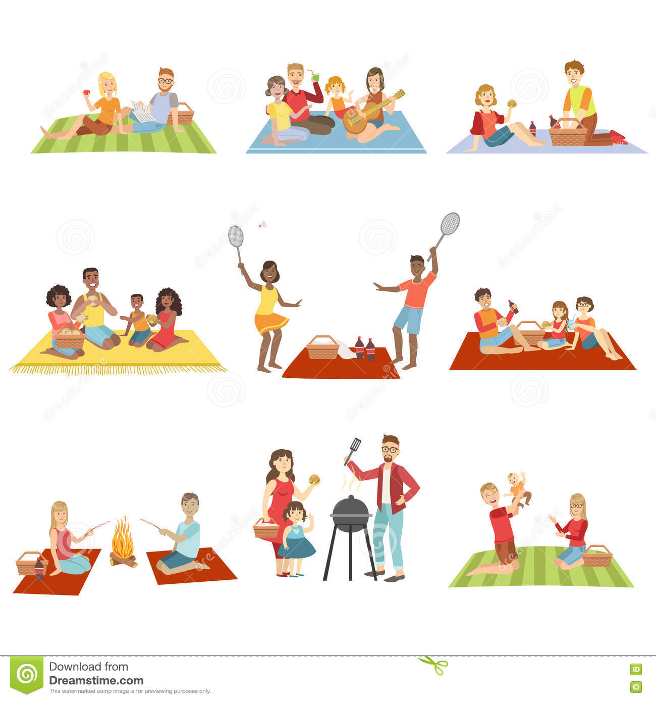 Families On Picnic Outdoors