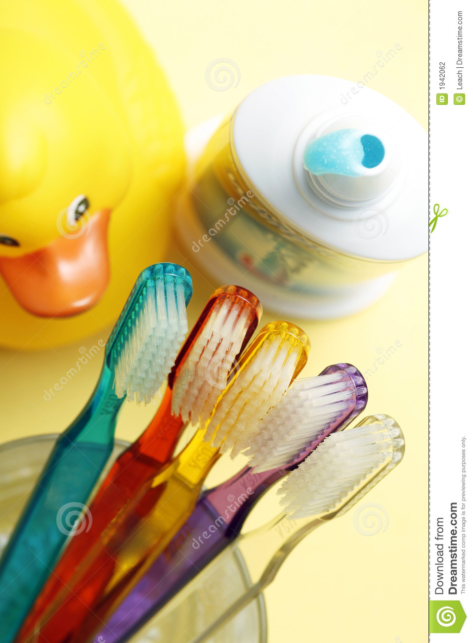 Families Toothbrushes, Toothpaste, Yellow Rubber Duck, Bathroom