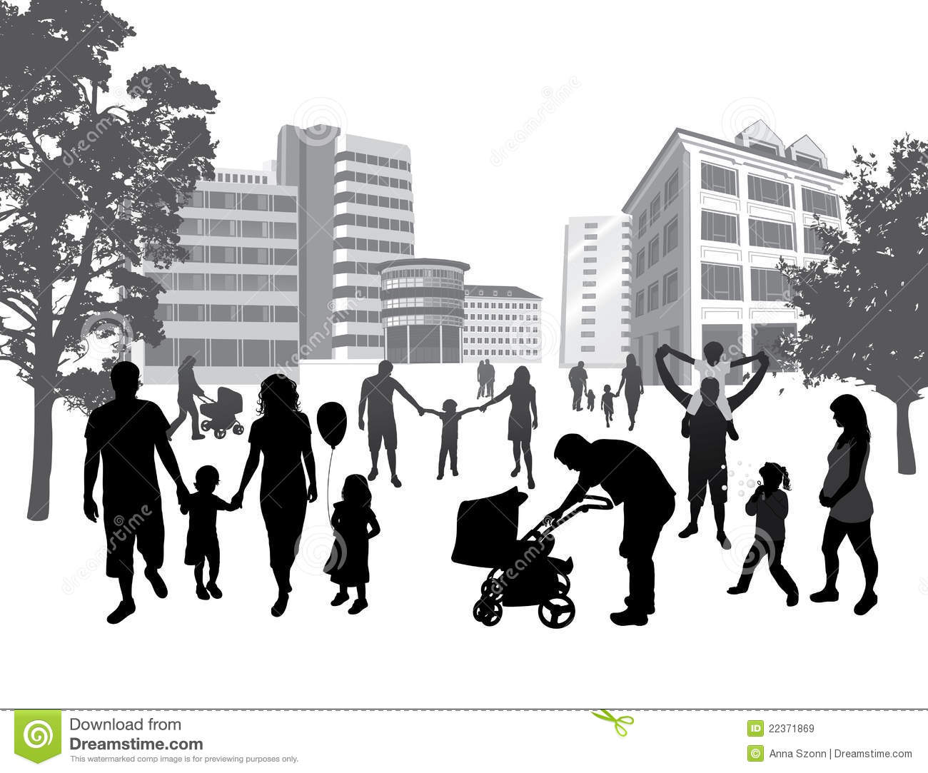 Families Walking In The Town. Lifestyle ,urban Bac Stock ...