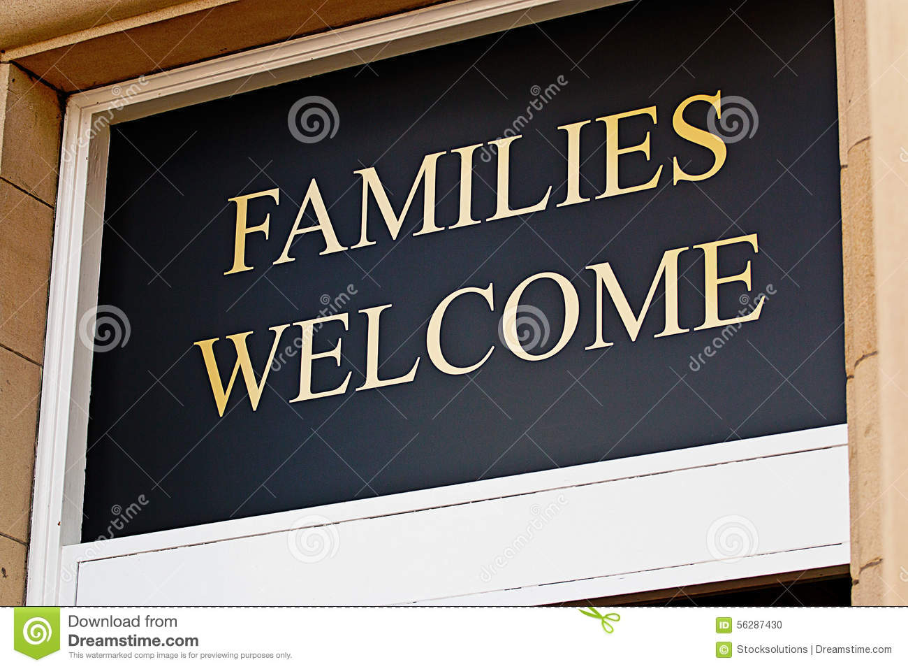 Families welcome sign