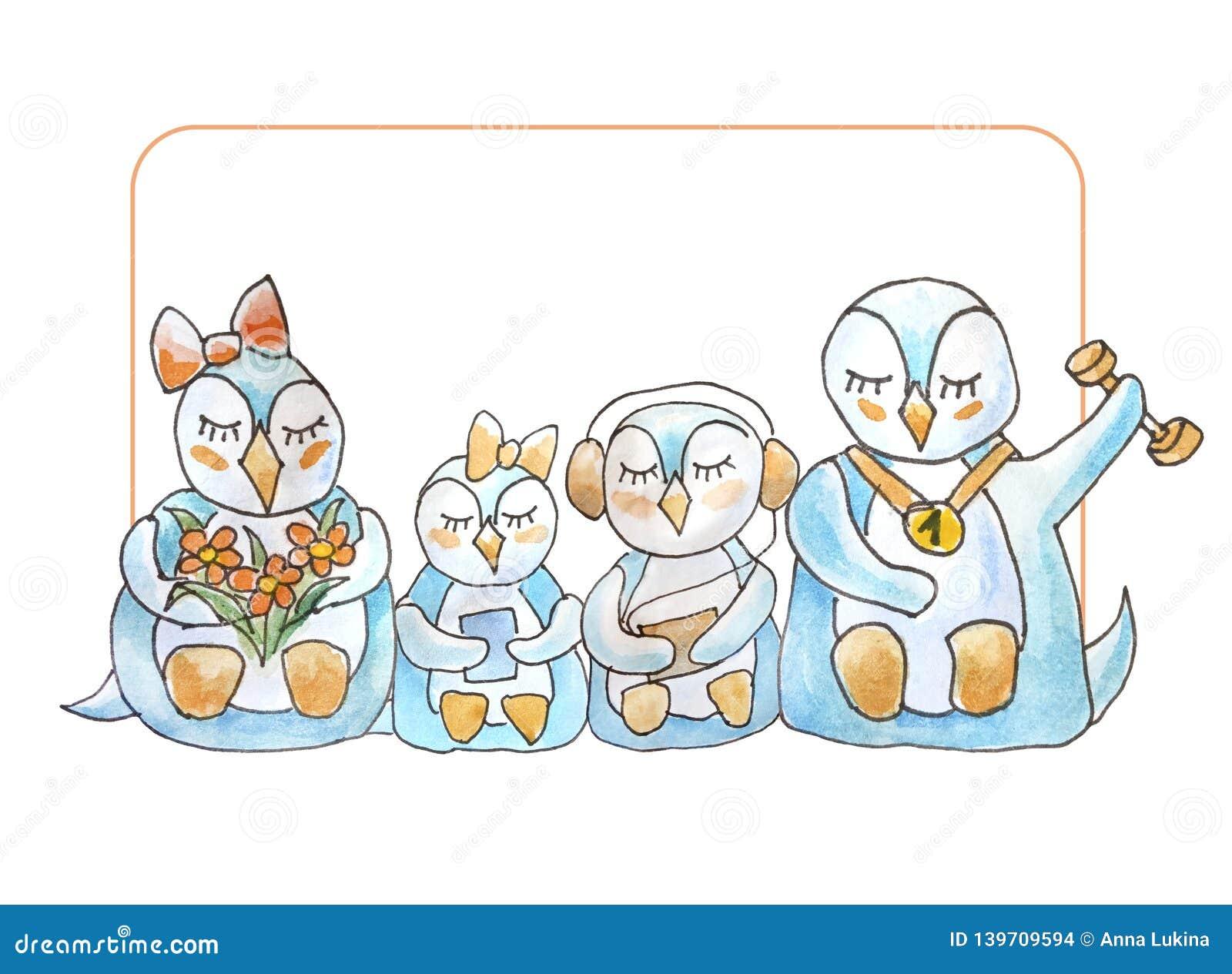 Familj av pingvin med ramen och bokstäver