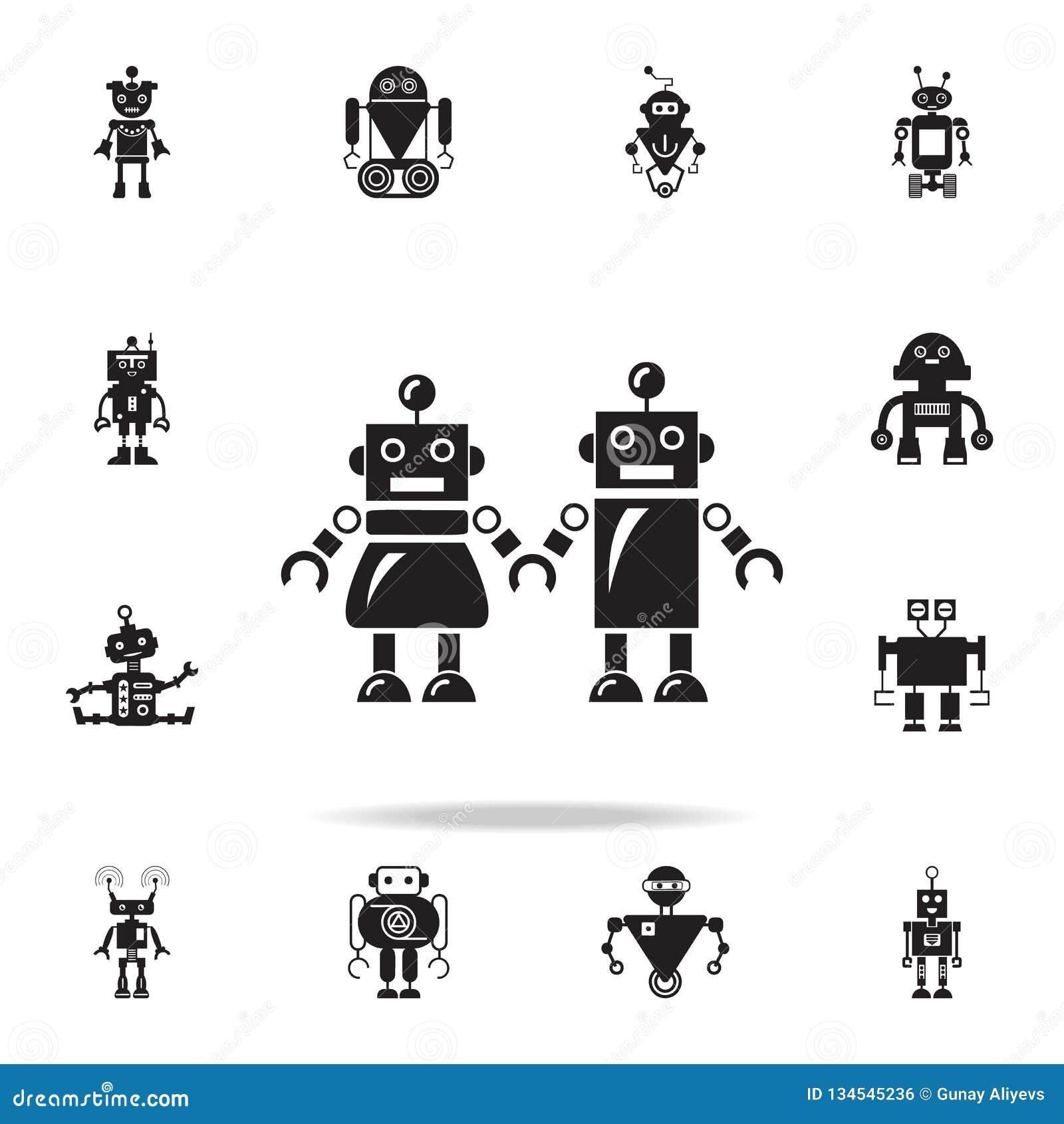 Familj av robotsymbolen Detaljerad uppsättning av robotsymboler Högvärdig grafisk design En av samlingssymbolerna för websites, r