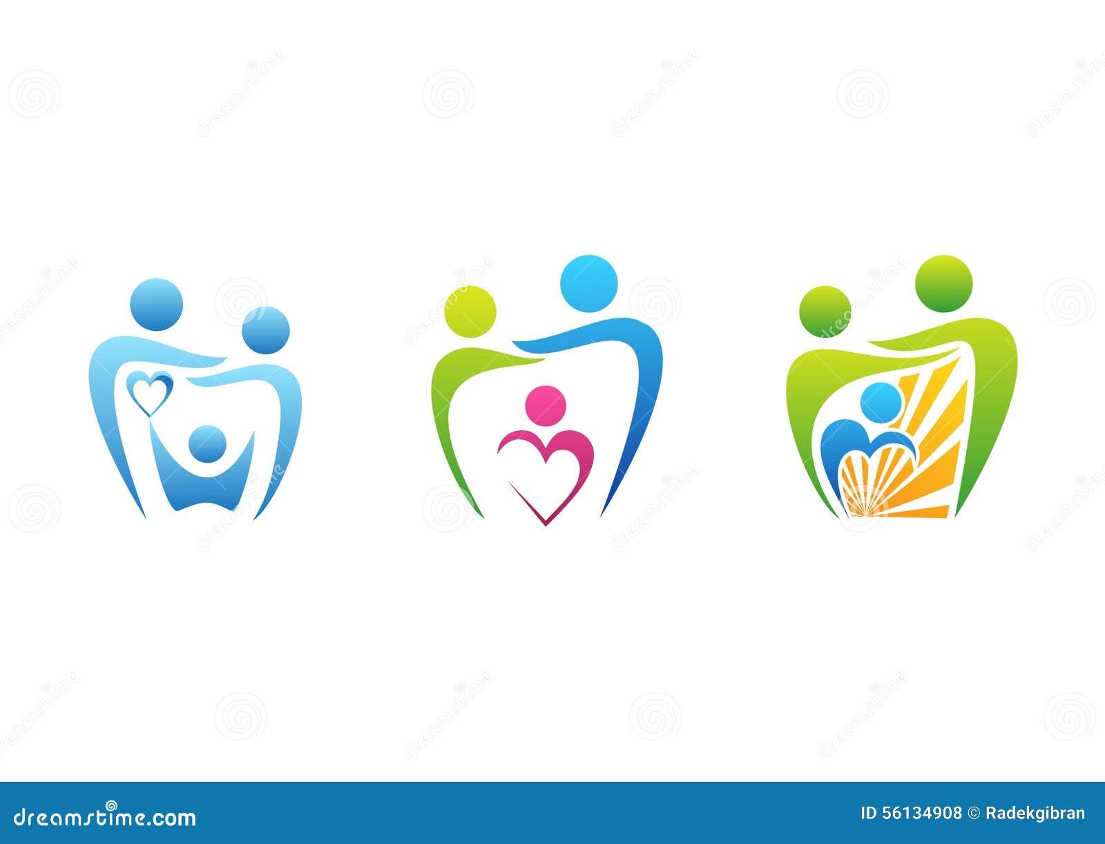 Familj barnuppfostran, tandvårdlogo, symbol för vård- utbildning för tandläkare, vektor för fastställd design för familjillustrat