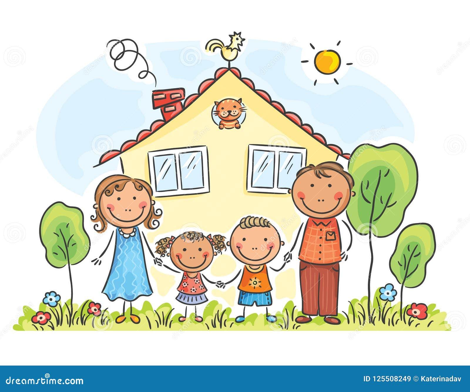Familj med två barn nära deras hus, tecknad filmdiagram