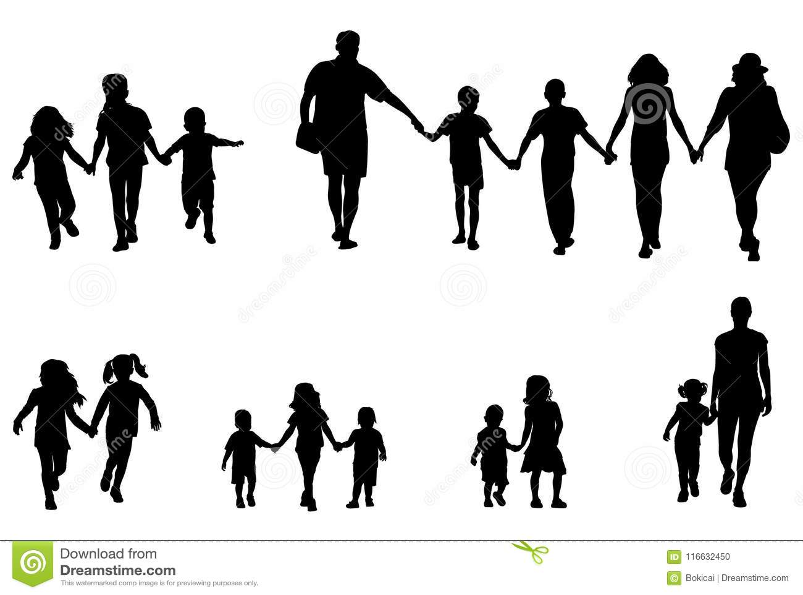 Familj och barn som rymmer handkontursamlingen
