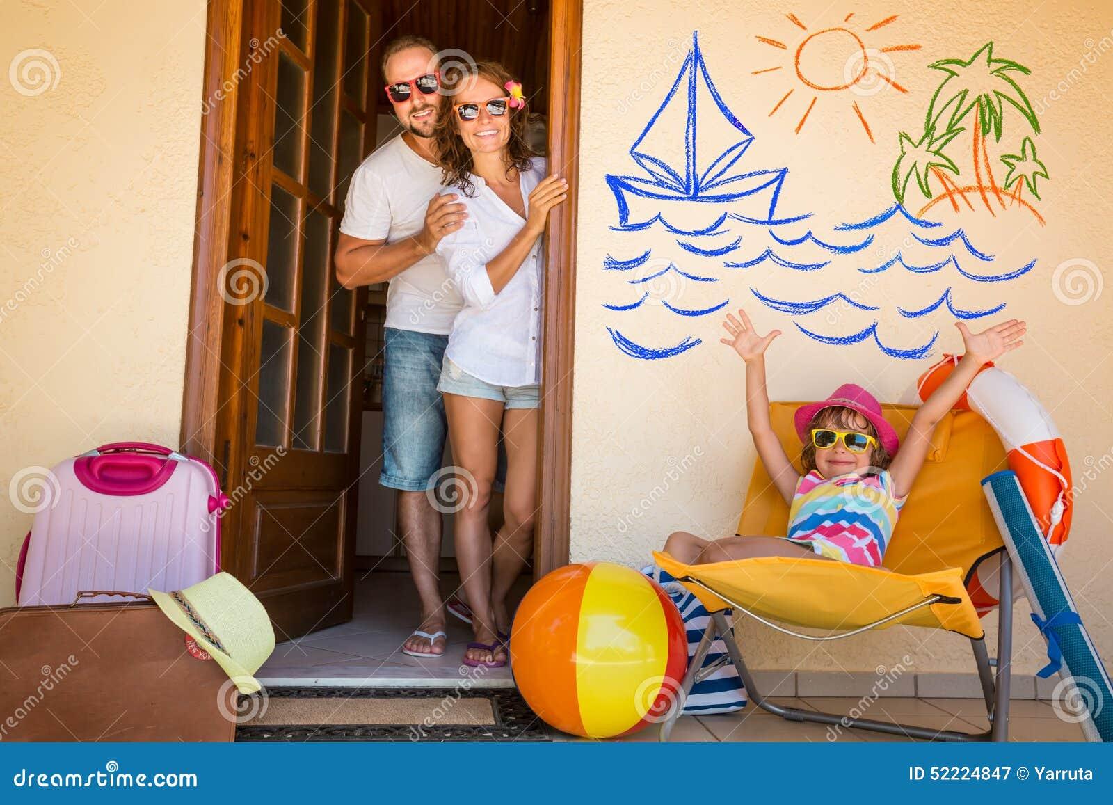Familj på semester