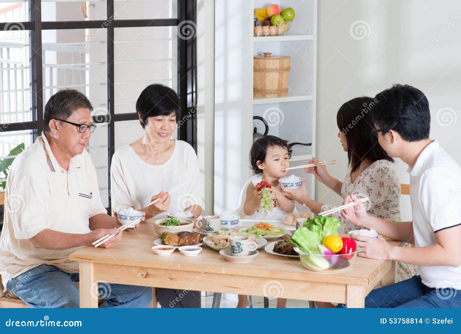 Familj som hemma äter