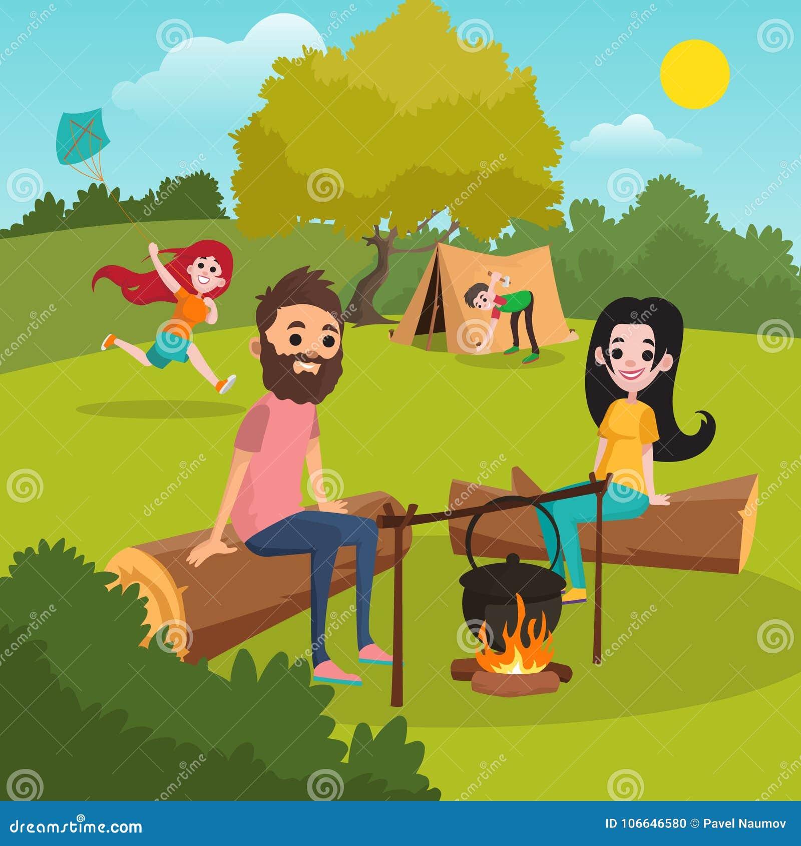 Familjen med ungar som in campar, parkerar Flicka som leker med draken Pojkeuppställningtält Föräldrar som sitter på journal nära