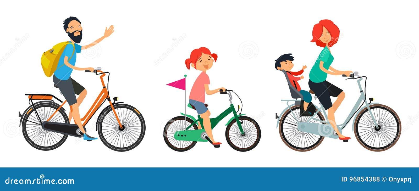 Familjen på cyklar går Manlig och kvinnlig ridning på cykeln