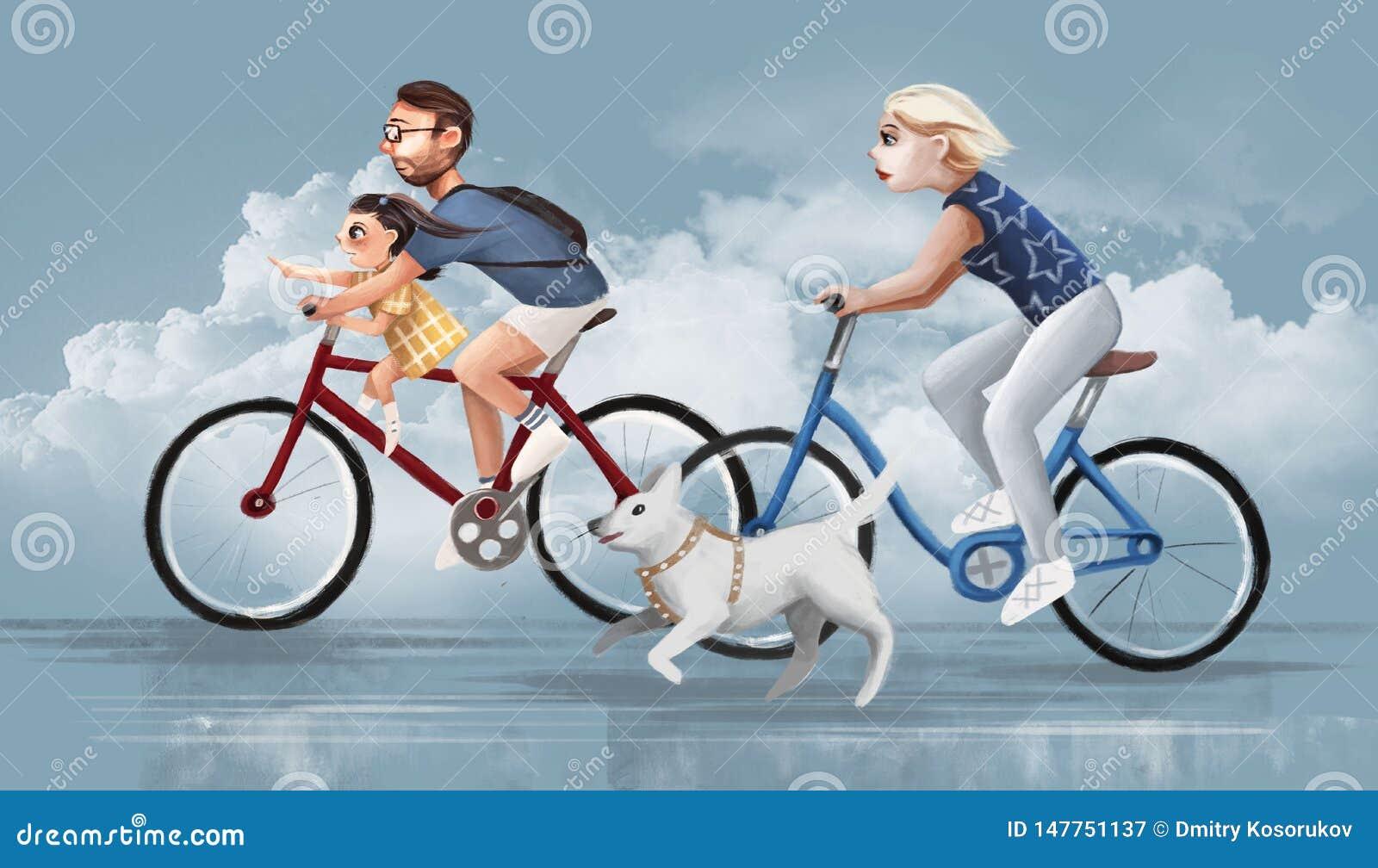 Familjen rider cyklar på vägen
