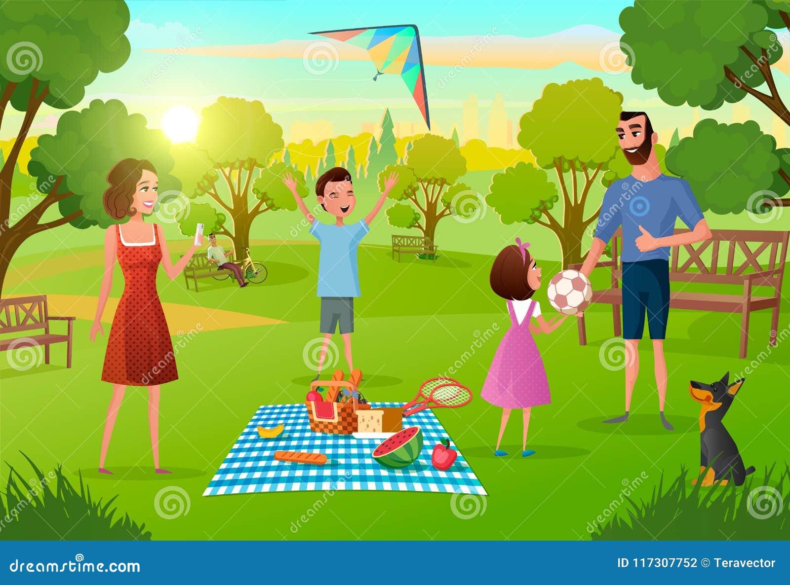 Familjen som har gyckel på picknick i stad, parkerar vektorn