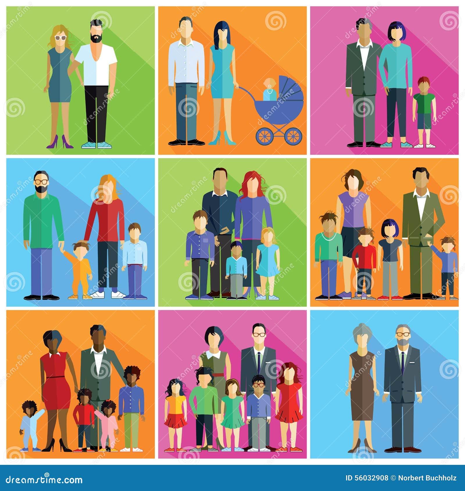 Familjer, Föräldrar Och Par Vektor Illustrationer - Bild ...