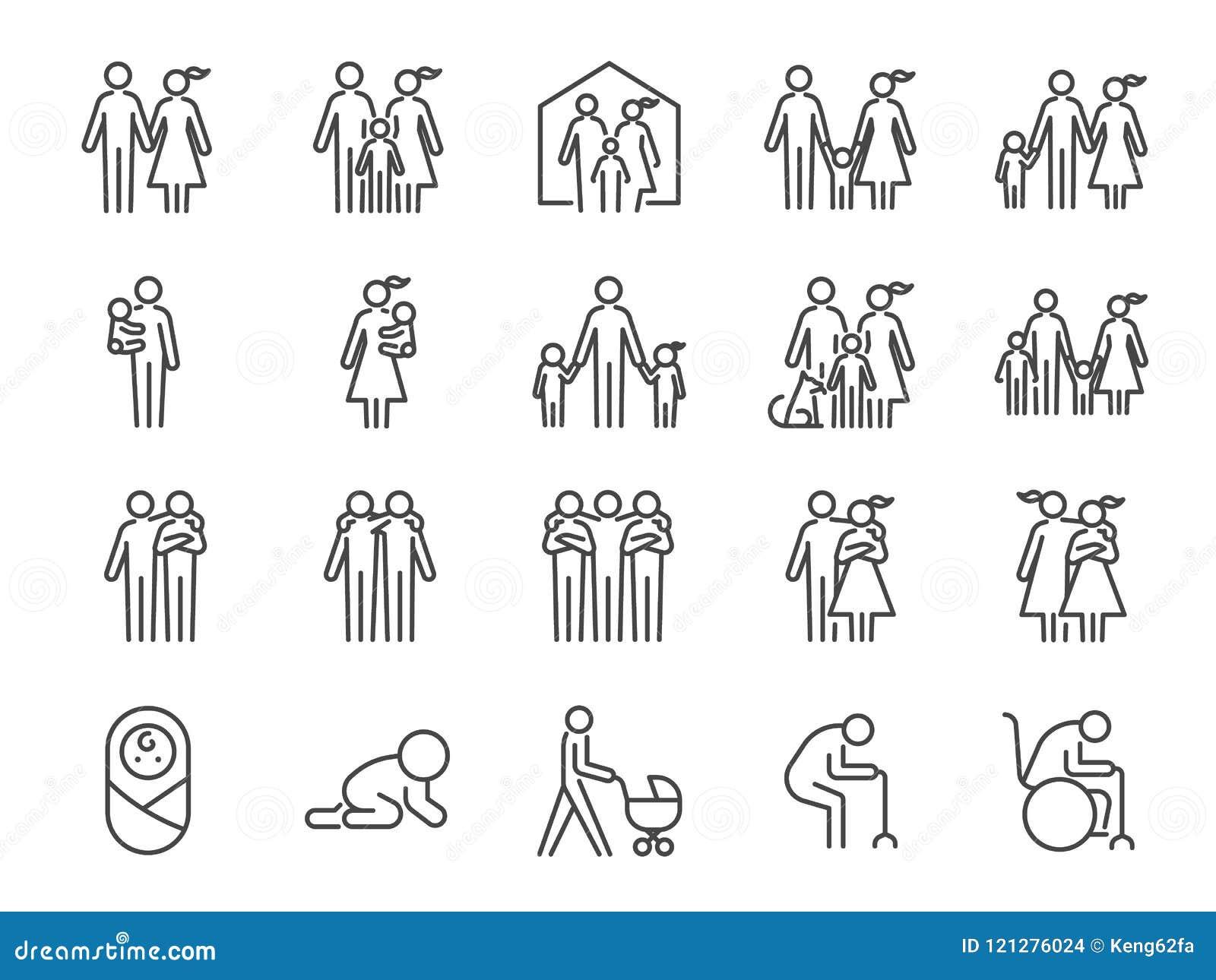 Familjsymbolsuppsättning Inklusive symboler som folk, föräldrar, hem, barn, barn, husdjur och mer