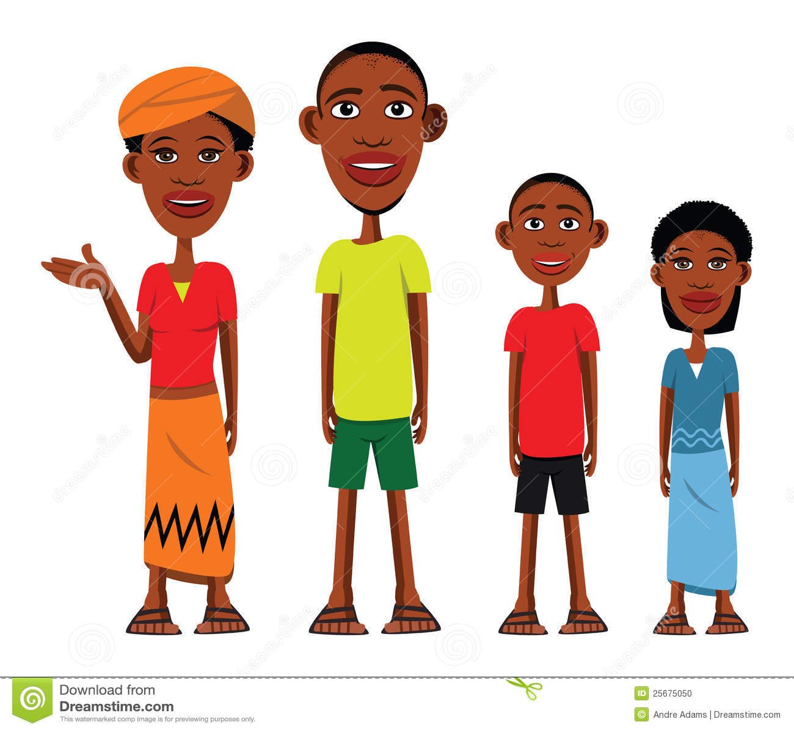 Illustration de dessin anim 233 d un famille africain