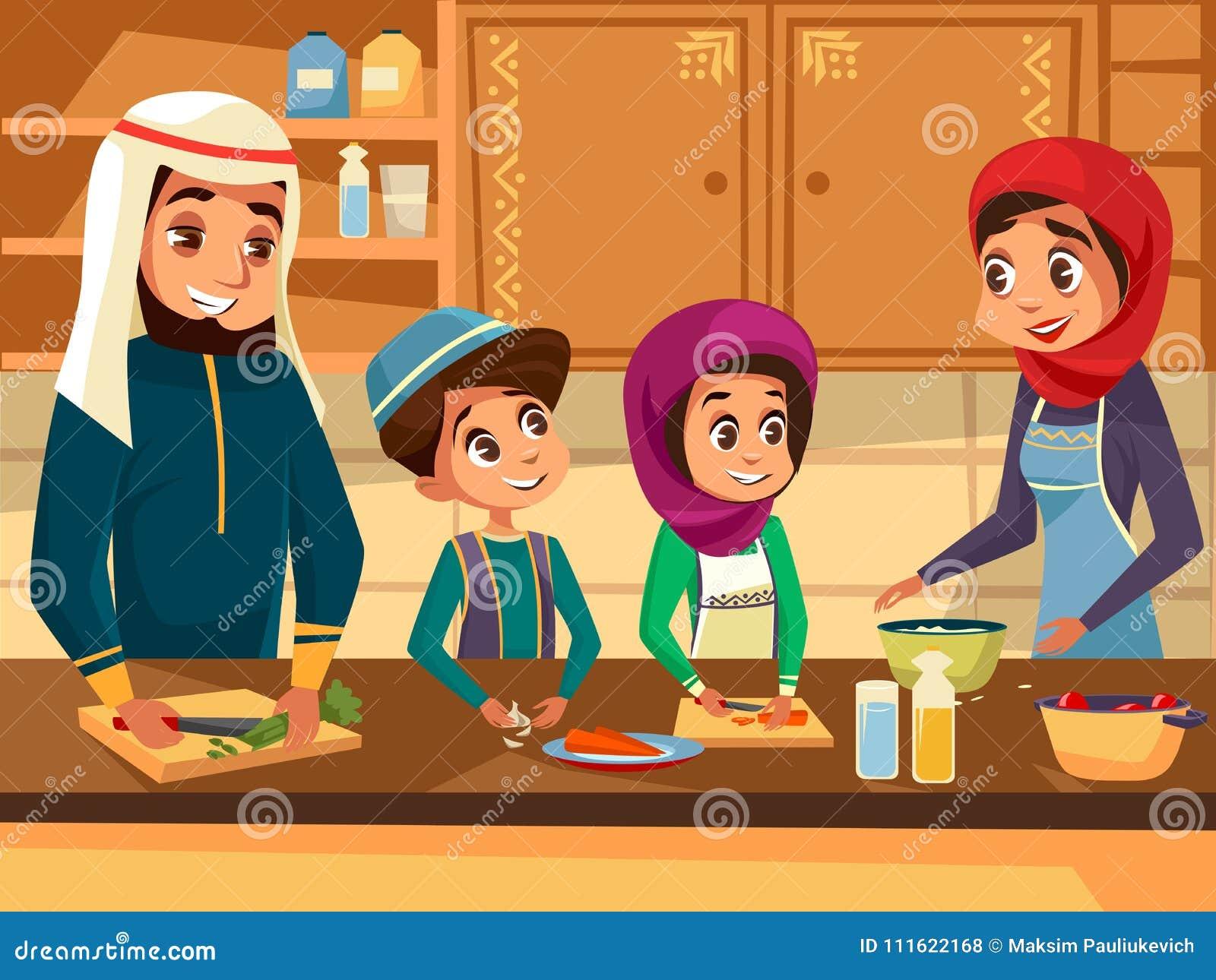 Famille arabe faisant cuire ensemble à l illustration plate de bande dessinée de vecteur de cuisine des personnes musulmanes prép