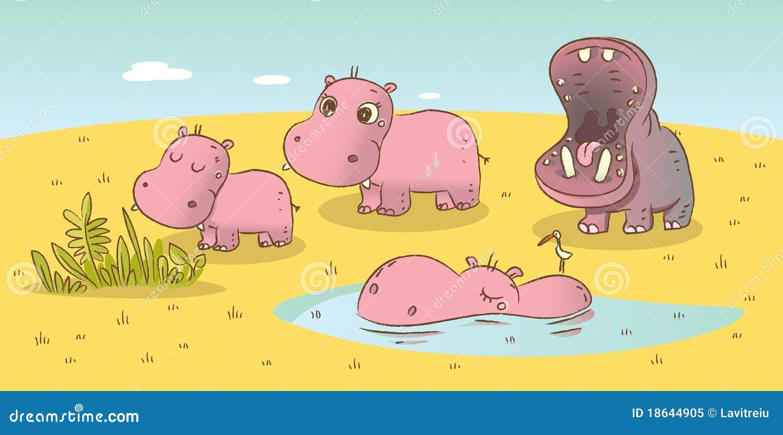 Famille d hippopotame
