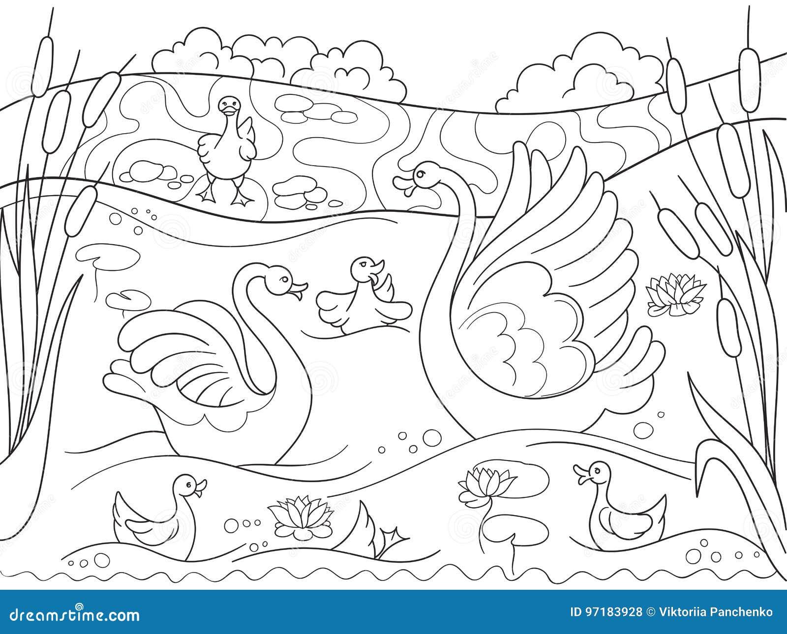 Famille De Bande Dessinée De Livre De Coloriage Des Enfants De Cygne Sur La Nature Illustration